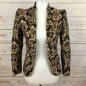 H&M Baroque Damask Jacquard Military Puff Blazer